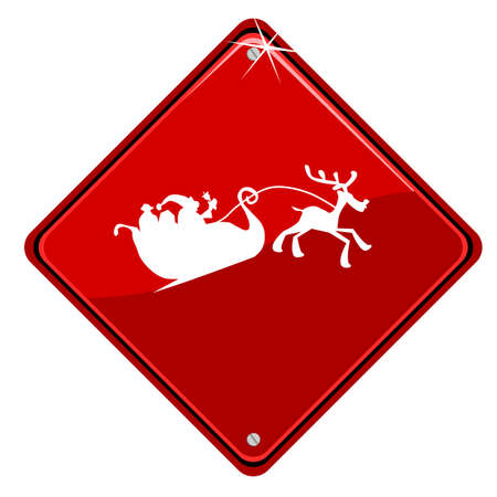 Red traffic sign with Santa Claus Vector
