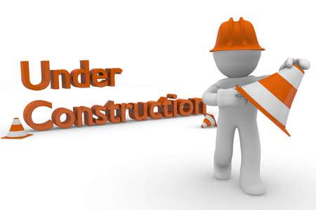 Trabajador de la construcci�n con postes