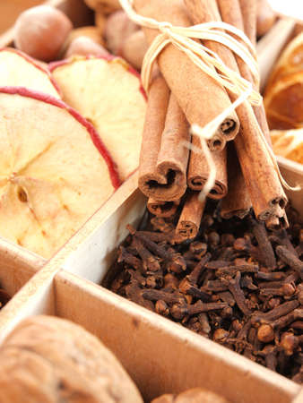 Dried fruits with different herbs and nuts photo
