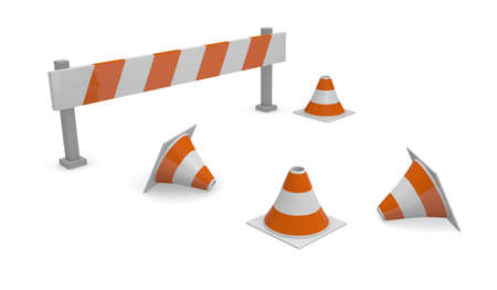 Under construction concept, barrier and pylons Stock Photo - 15911247