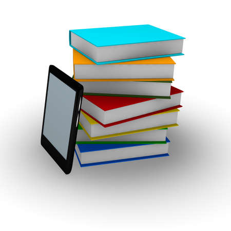 E-book reader with stacked books, 3d concept photo