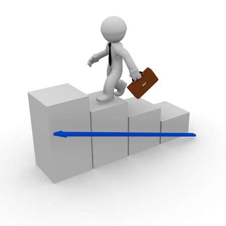 Business-Mann hohe Ziele, 3d concept