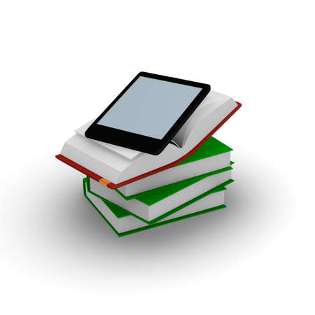 E-book reader on stacked books, 3d concept photo