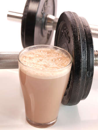 Fitness drink with heavy weights Imagens - 16747604