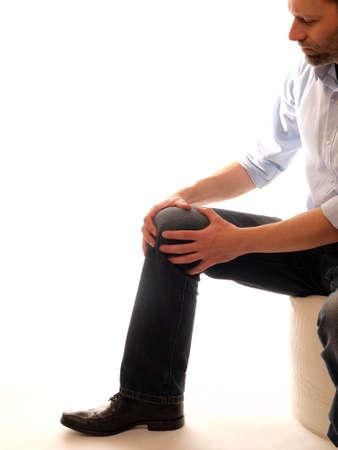 anterior: Man with anterior knee pain      Stock Photo