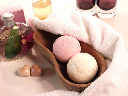 bath additive: Bath additive with a towel Stock Photo