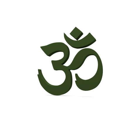 3d om: Green Om sign on a white background