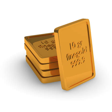 Fine gold bars stacked on a white background photo