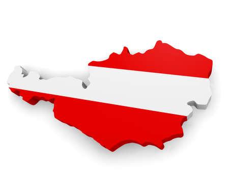 3D Karte von Österreich auf einem weißen Hintergrund