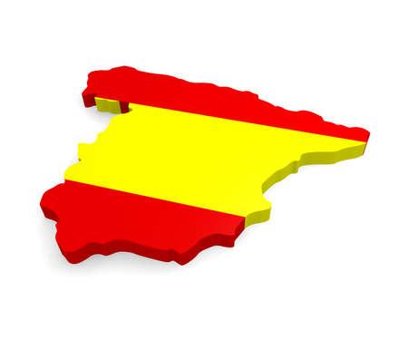 3D-Karte von Spanien auf weißem Hintergrund