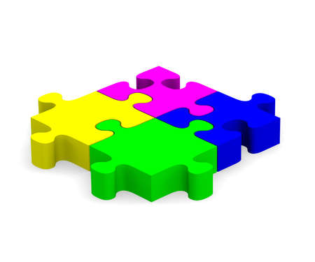 Four colorful pieces of puzzle photo