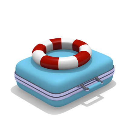 life belt: Blue suitcase with a life belt, vacation concept