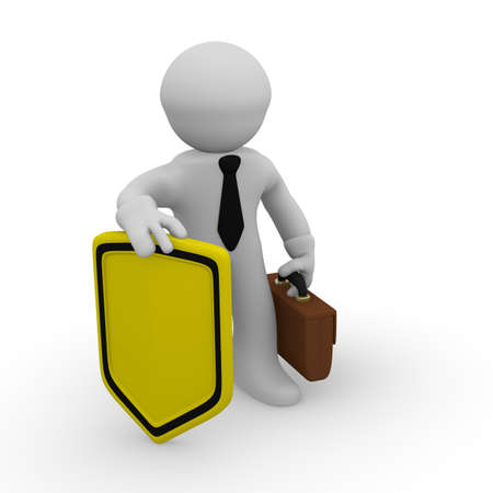 exception: 3d business man with a yellow sign with space for text Stock Photo