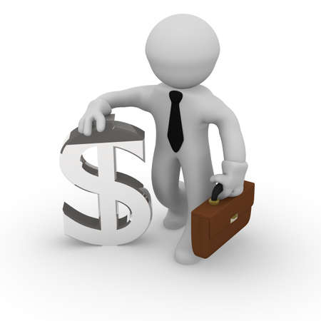 3d business man with a Dollar icon Stock Photo - 21792792