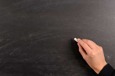 Hand writing with chalk on a blackboard photo