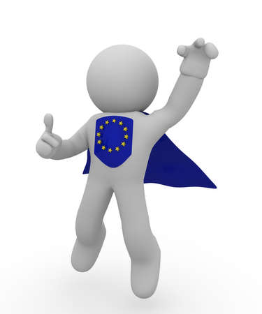 Super European hero flying high with thumb up photo