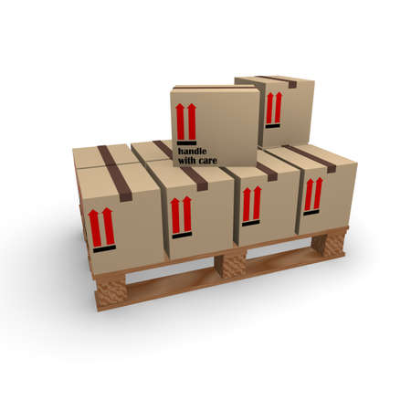 boxboard: Wooden pallet with cardboard boxes Stock Photo