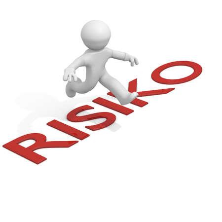 risiko: 3d man jumping over Risiko