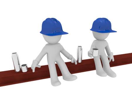 steel beam: Construction worker on a steel beam