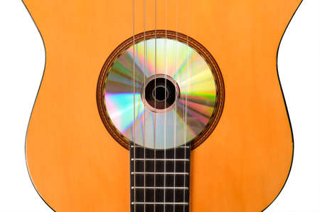 Acoustic guitar with a CD photo