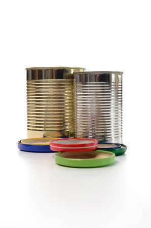Recycling concept, old tin can on a white  photo