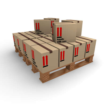 boxboard: Cardboard boxes on a pallet on a white  Stock Photo