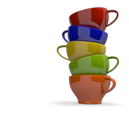 Colorful cups stacked on a white  photo