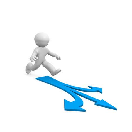 diverging: 3d man on a blue arrow