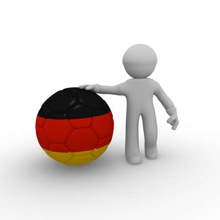 3d man with a big soccer ball with a German flag photo