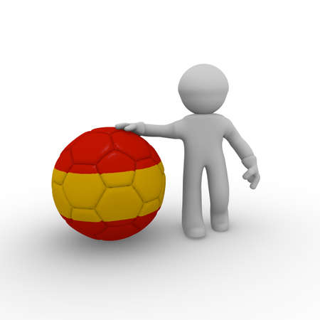 3d man with a big soccer ball with a Spanish flag photo