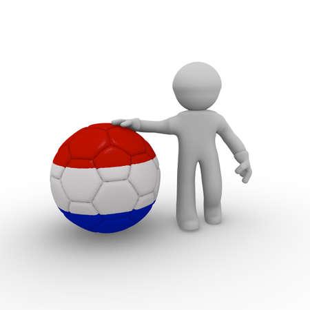 3d man holding a big soccer ball with a Dutch flag photo