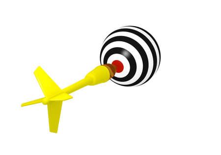 taget: 3d concept of dart hitting taget ball