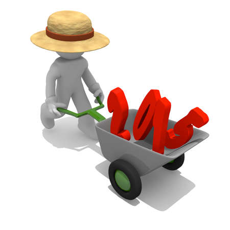 Gardener with wheel barrow and red 2015