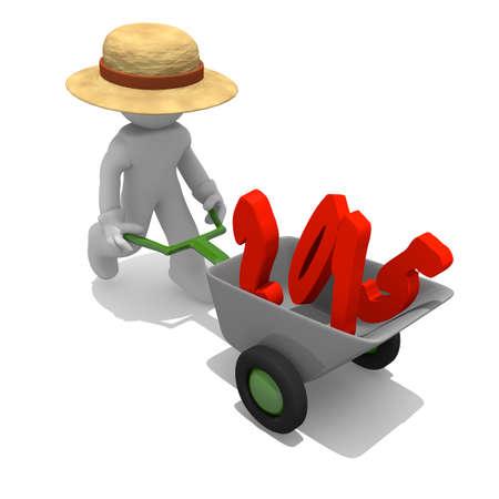 wheel barrow: Gardener with wheel barrow and red 2015