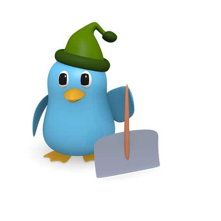 snowdrift: Blue bird with a snow shovel
