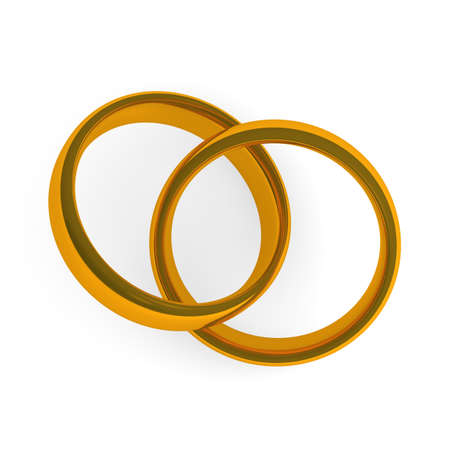 Two golden rings on a white background , wedding concept in 3d photo