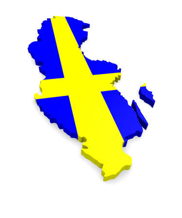 3d map of Sweden on a white background photo