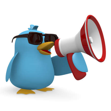 assert: Cool blue bird with a megaphone on a white background Stock Photo