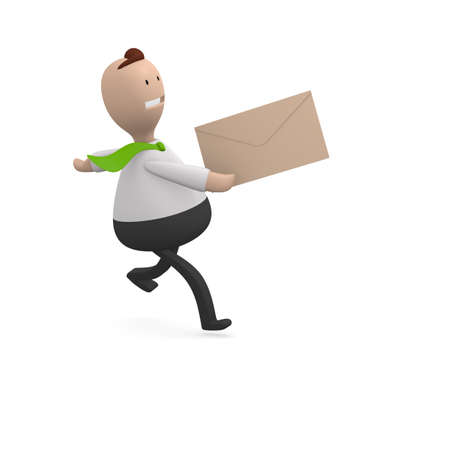 Business man running with a letter in his hand photo