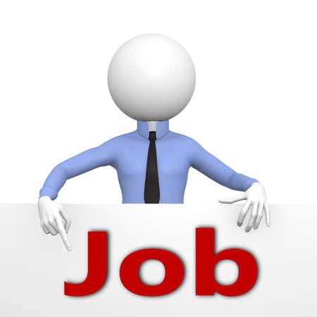 new job: 3d business man present a new job