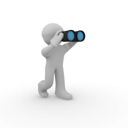 3d man with binoculars on a white background