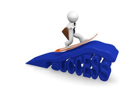 3d zakenman surfen op de golf van succes Stockfoto