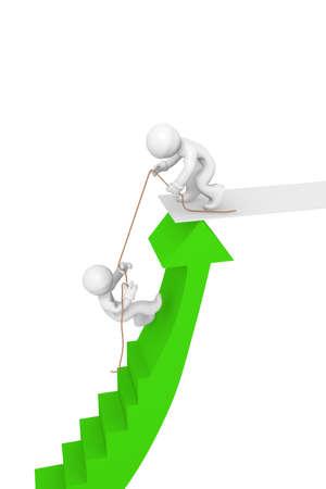 helpfulness: Two 3d man climbing a green upswing arrow, helpfulness concept