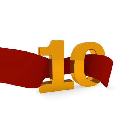 jubilee: Jubilee concept, golden 10 with a red ribbon