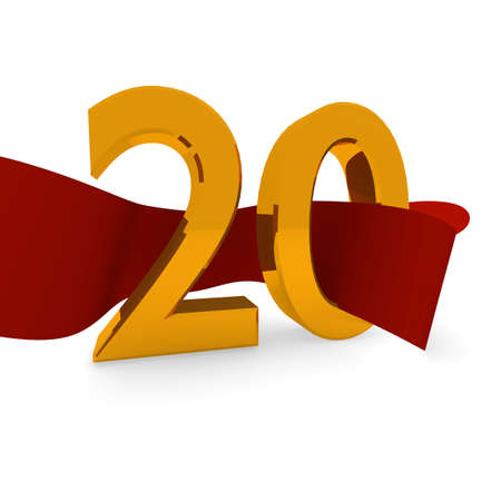 jubilee: Golden 20 with a red ribbon, jubilee concept in 3d Stock Photo