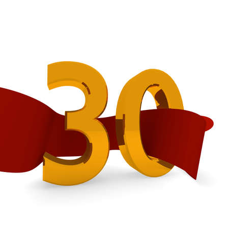 jubilee: Golden 30 with a red ribbon, jubilee concept in 3d Stock Photo