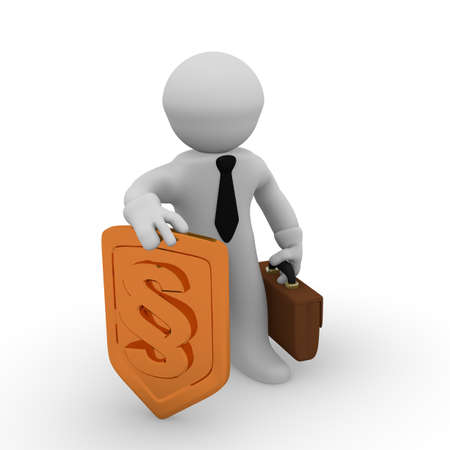 small articles: 3d business man with a golden protective shield with a paragraph icon