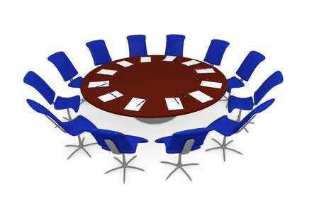 round chairs: Round office table with blue chairs, meeting or teamwork concept
