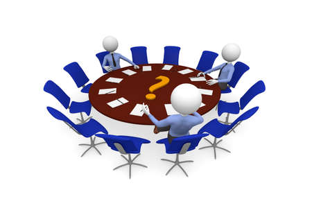 Round table meeting with three business men photo
