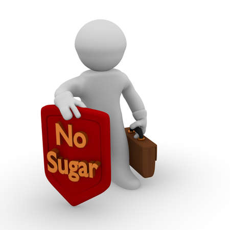 guilty pleasures: 3d man with a red protective shield with golden letters of No Sugar ! Stock Photo